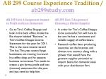 ab 299 course experience tradition ab299study com4
