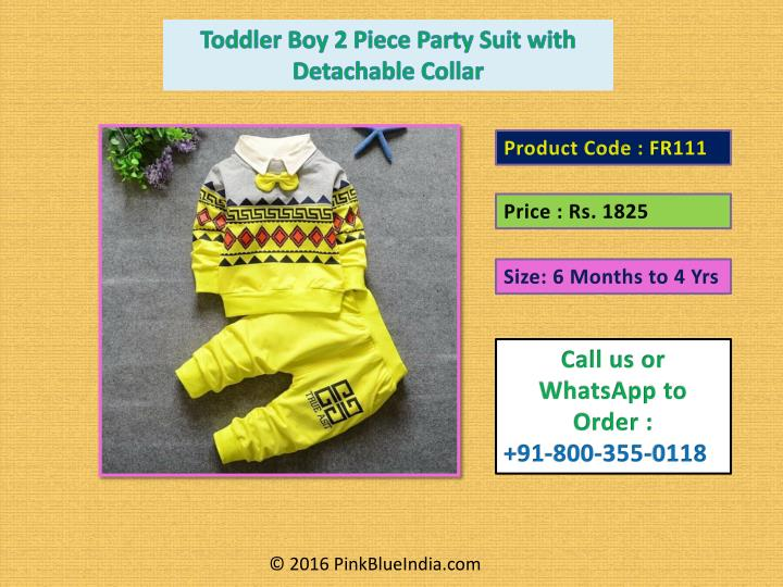 Toddler Boy 2 Piece Party Suit with Detachable Collar