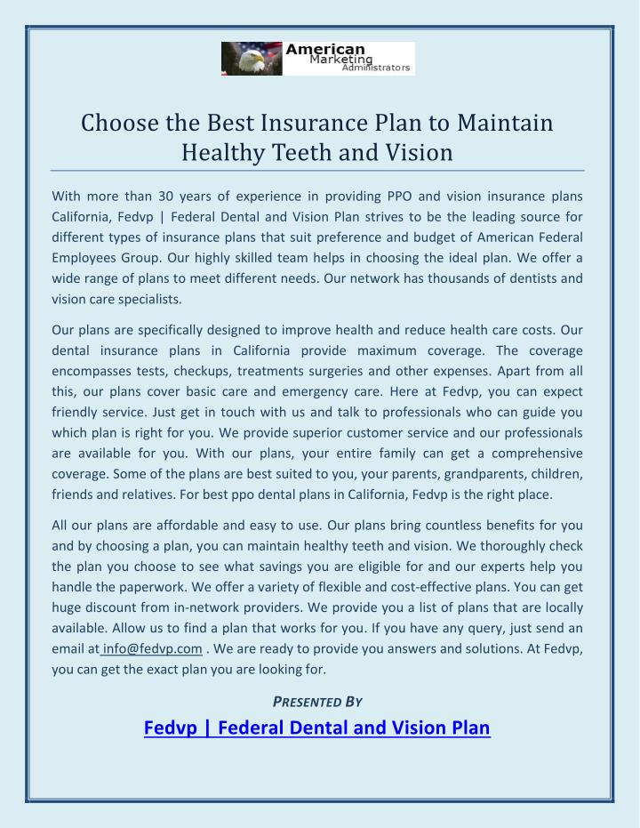 Choose the Best Insurance Plan to Maintain