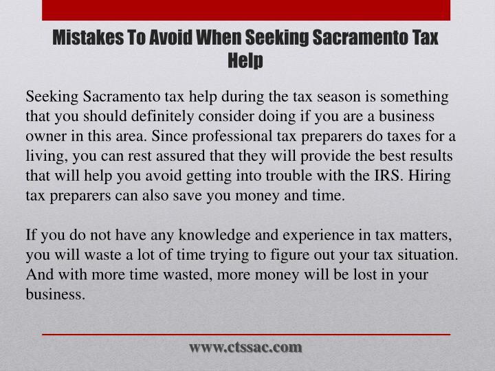 Mistakes to avoid when seeking sacramento tax help1