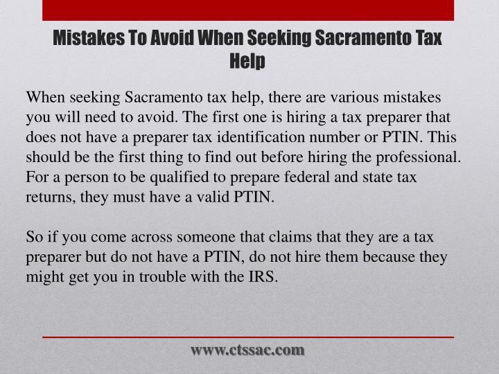 Mistakes to avoid when seeking sacramento tax help2