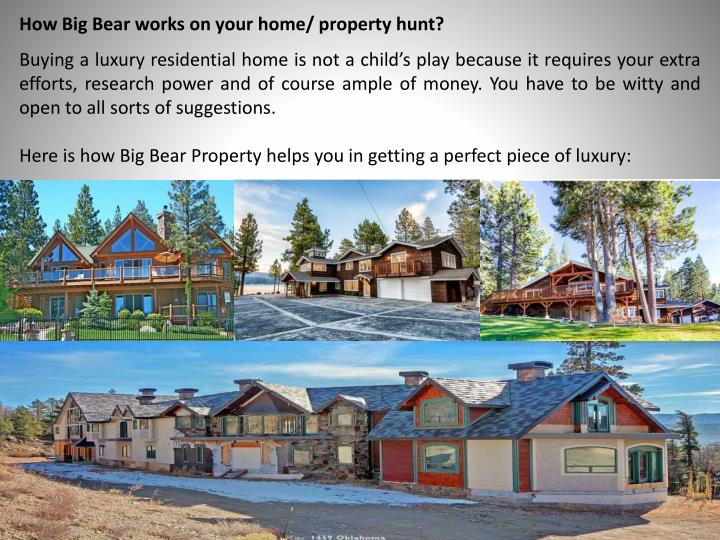 How big bear works on your home property hunt