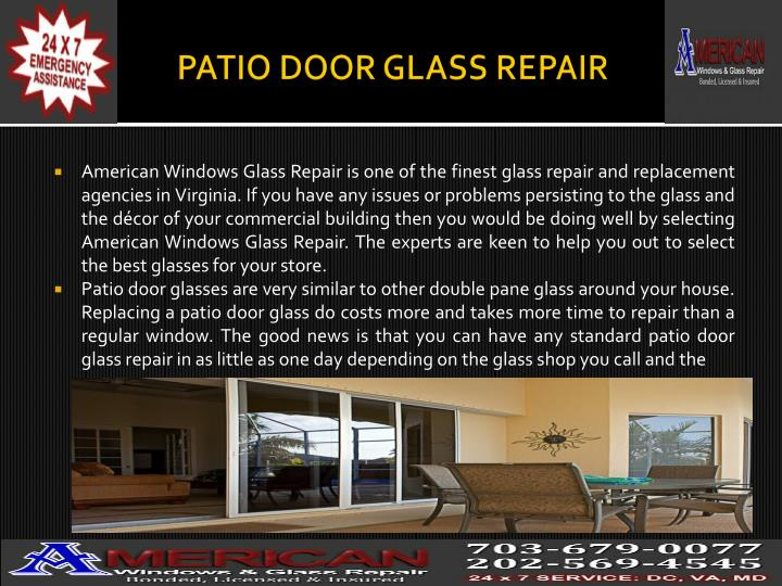 PATIO DOOR GLASS REPAIR