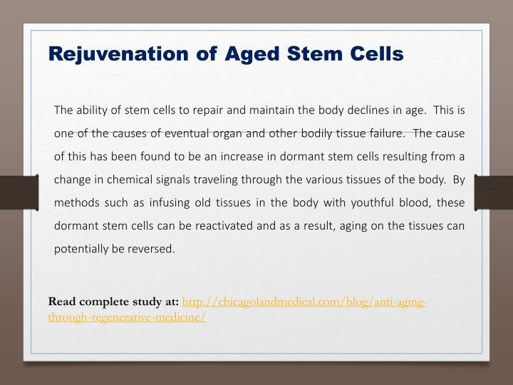 Rejuvenation of Aged Stem Cells
