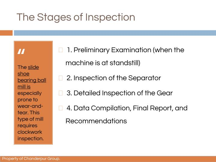 The stages of inspection