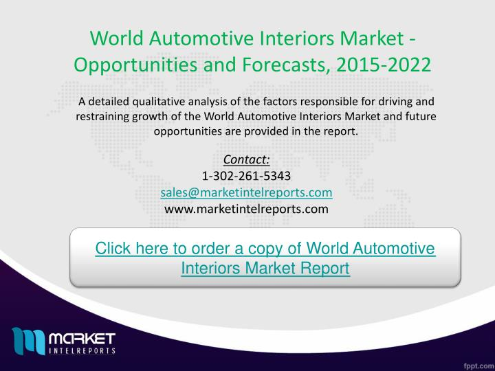World Automotive Interiors Market - Opportunities and Forecasts, 2015-2022