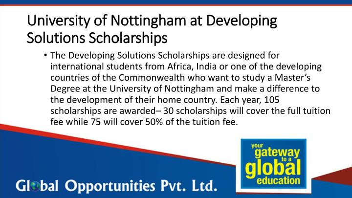 University of Nottingham at Developing Solutions Scholarships