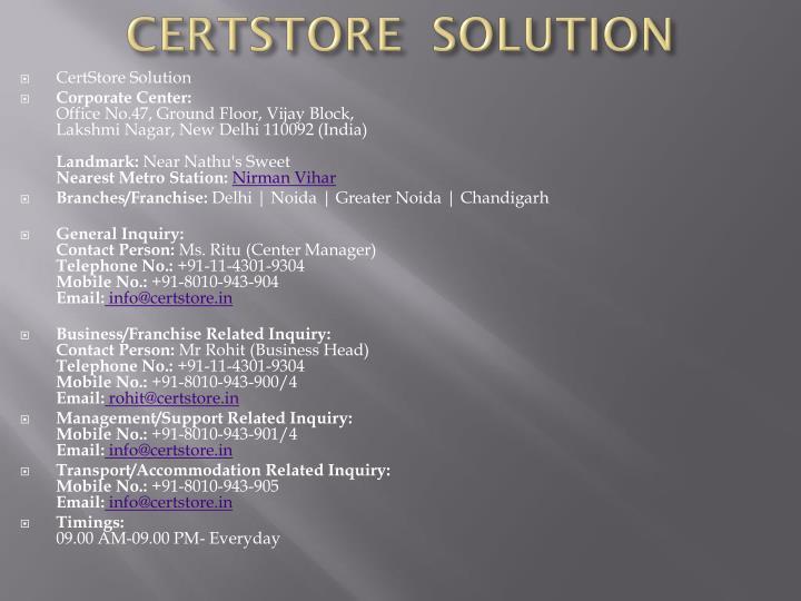 CertStore Solution