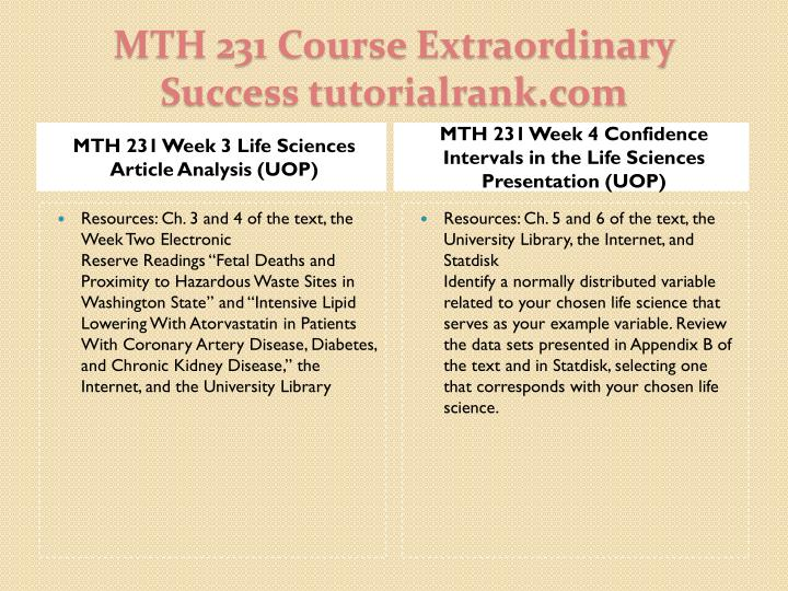 MTH 231 Week 3 Life Sciences Article Analysis (UOP)