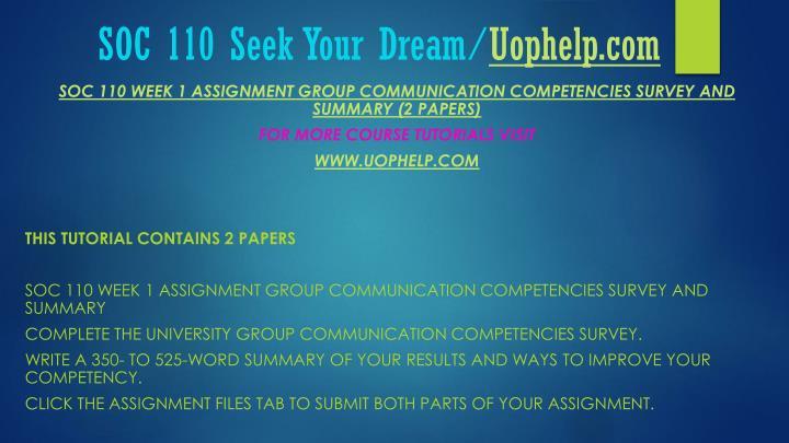Soc 110 seek your dream uophelp com2