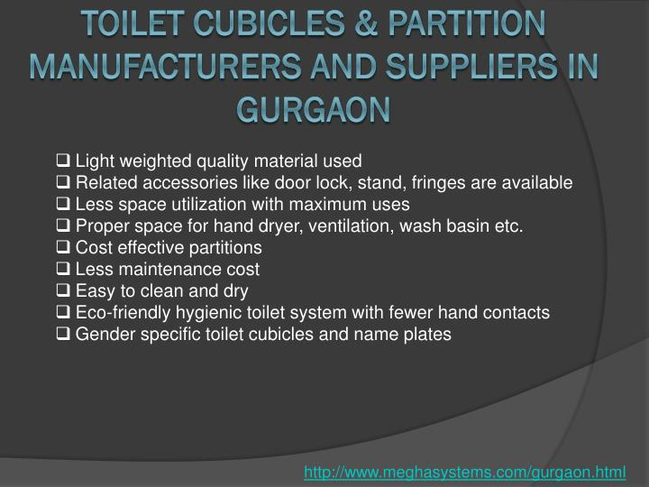 Toilet Cubicles & Partition Manufacturers and Suppliers in Gurgaon