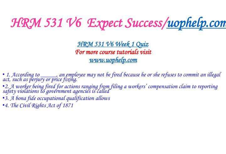 HRM 531 V6  Expect Success