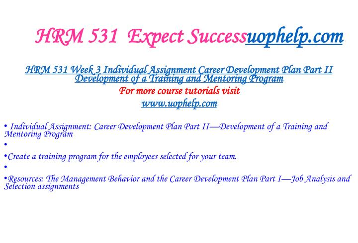 HRM 531  Expect Success