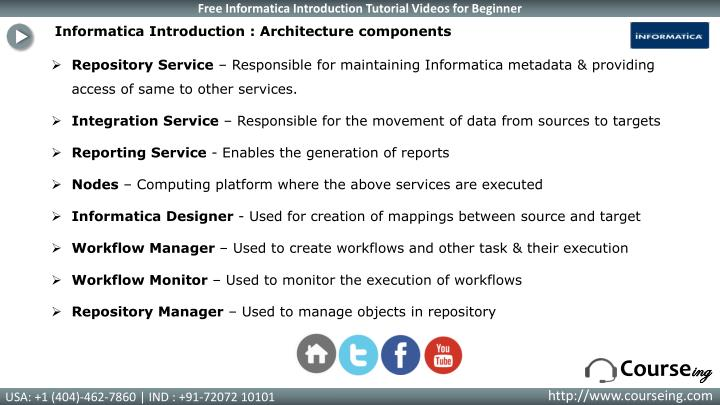 Informatica Introduction : Architecture components