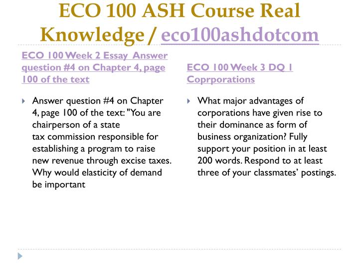 ECO 100 ASH Course Real Knowledge /