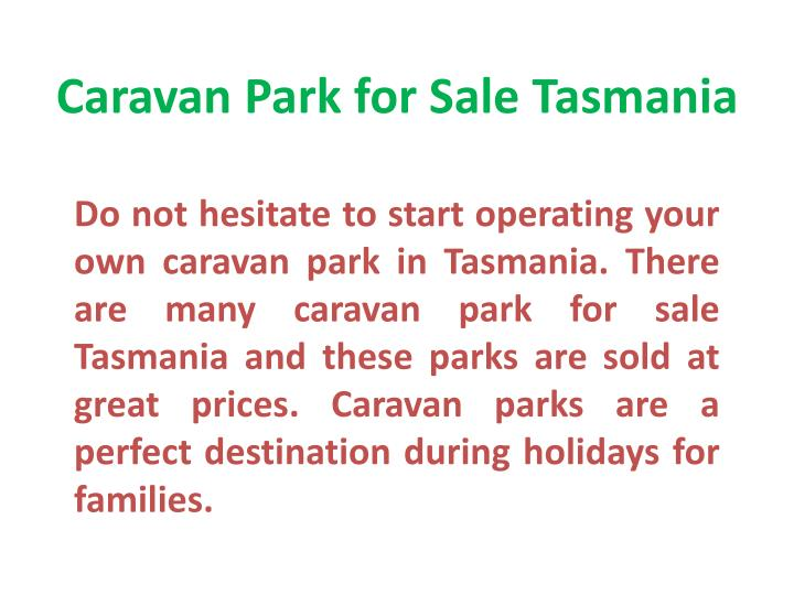 Caravan Park for Sale Tasmania
