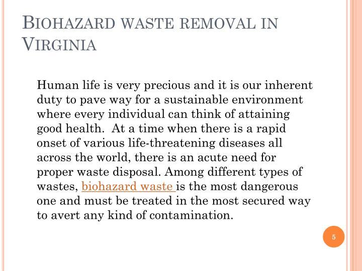 Biohazard waste removal in Virginia