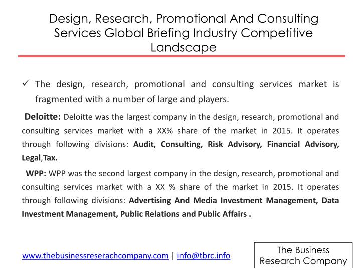 Design, Research, Promotional And Consulting Services Global