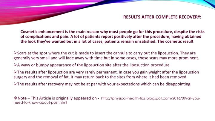 Results after complete recovery: