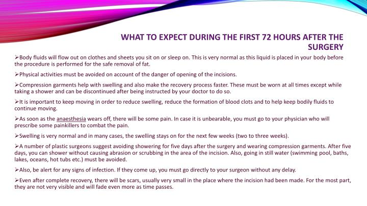 What to expect during the first 72 hours after the surgery