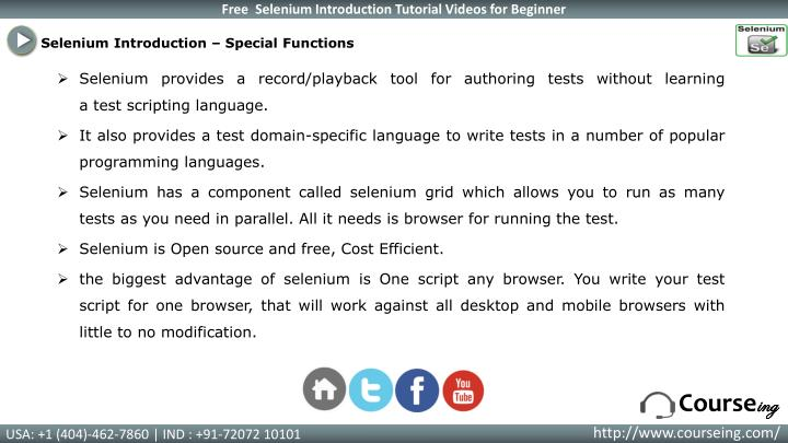 Selenium Introduction – Special Functions