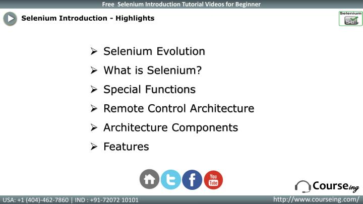 Selenium Introduction - Highlights