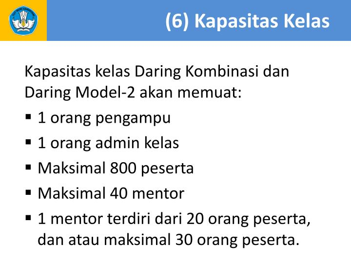 (6) Kapasitas Kelas