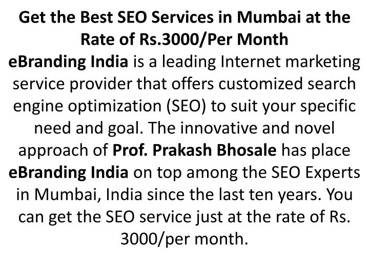 Get the Best SEO Services in Mumbai at the Rate of Rs.3000/Per Month