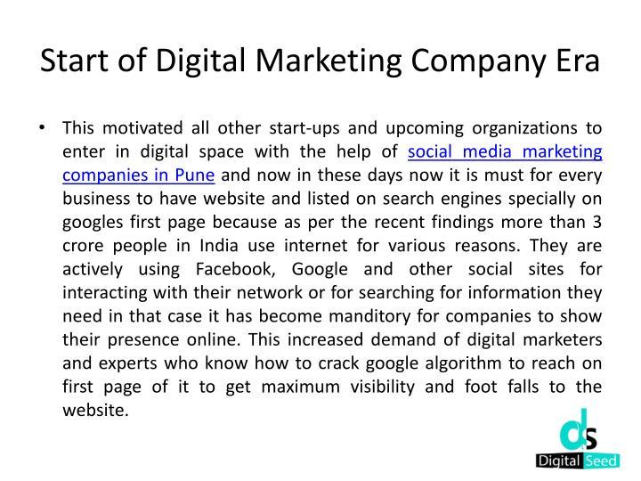 Start of Digital Marketing Company Era