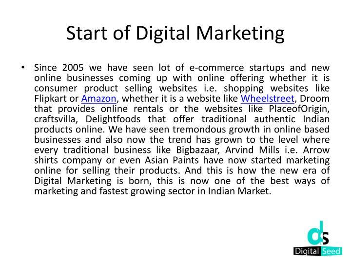 Start of digital marketing
