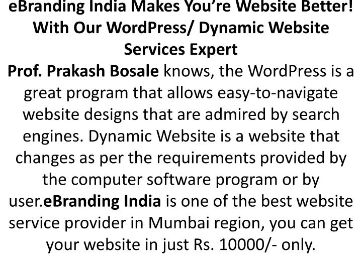 EBranding India Makes You're Website Better! With Our