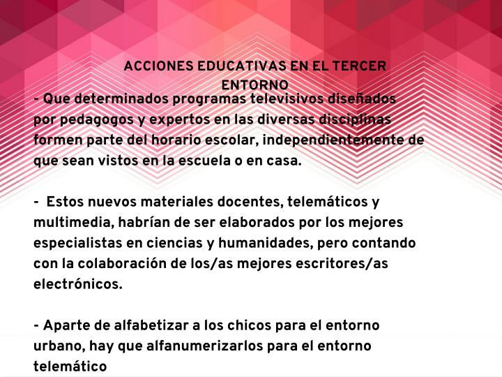 ACCIONES EDUCATIVAS EN EL TERCER