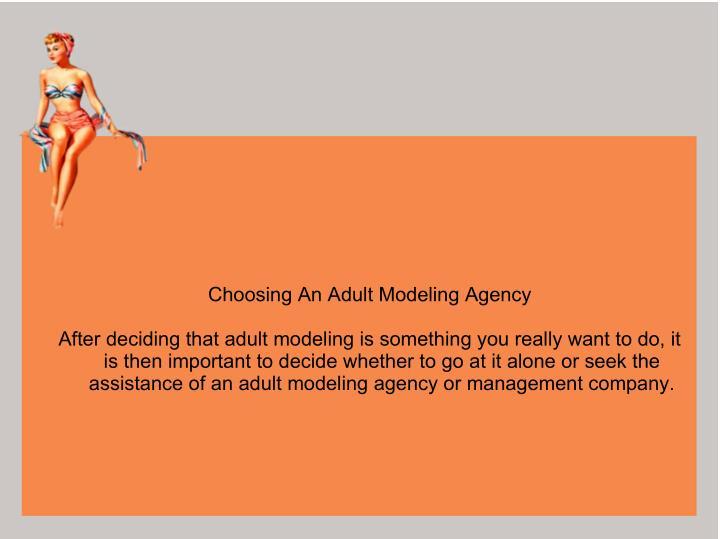 Choosing An Adult Modeling Agency