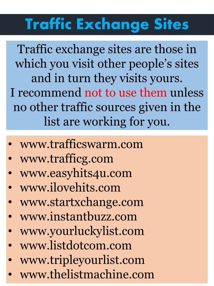 Traffic Exchange Sites