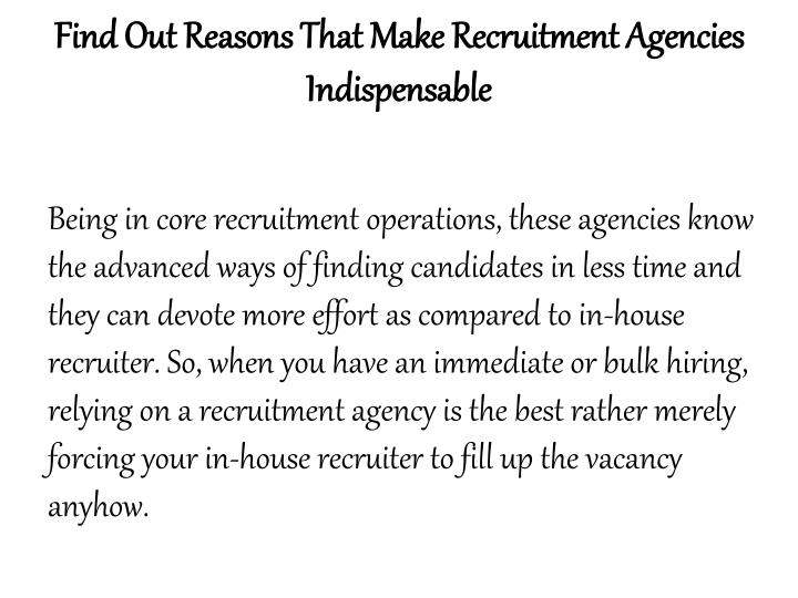 Find Out Reasons That Make Recruitment Agencies