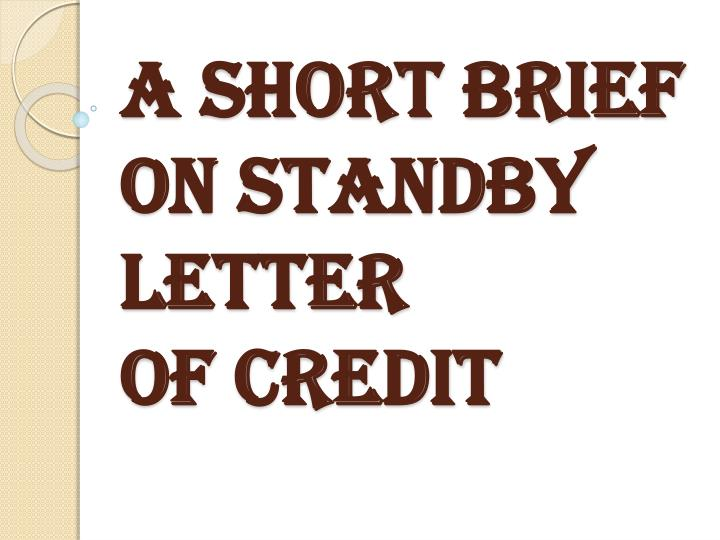A short brief on standby letter of credit