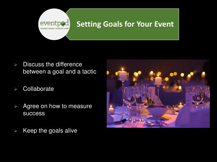 Discuss the difference between a goal and a tactic