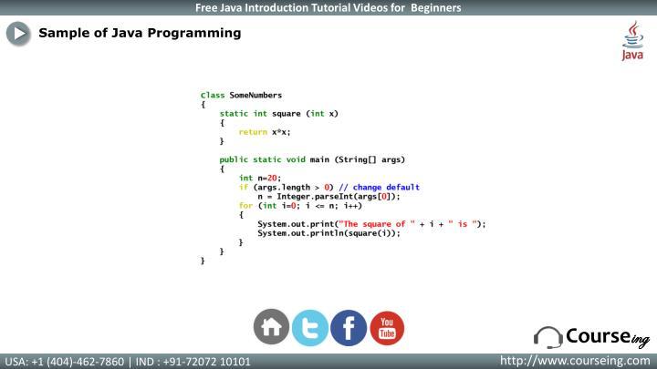 Sample of Java Programming