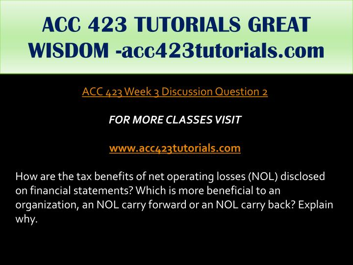 ACC 423 TUTORIALS GREAT WISDOM -acc423tutorials.com