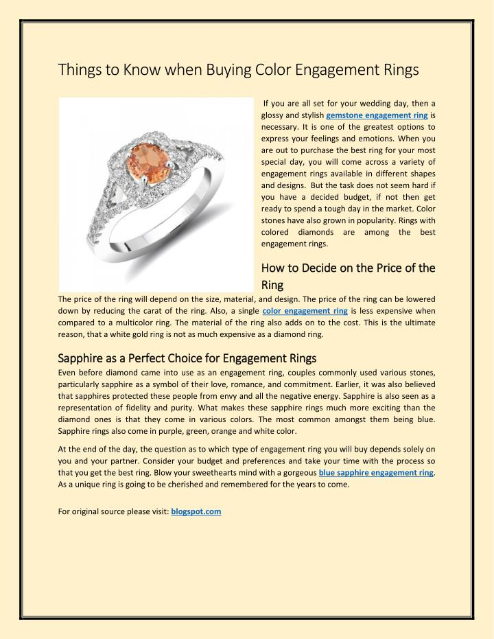 Things to Know when Buying Color Engagement Rings