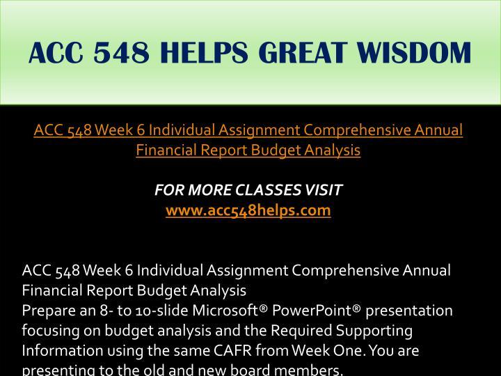 ACC 548 HELPS GREAT WISDOM
