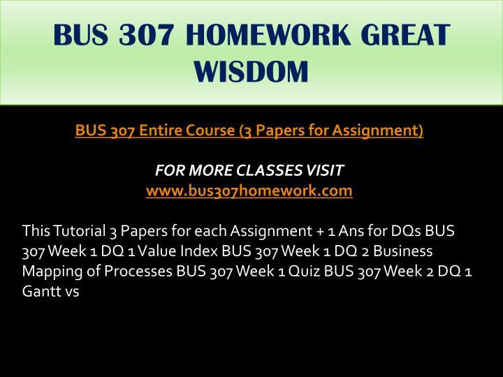 BUS 307 HOMEWORK GREAT WISDOM