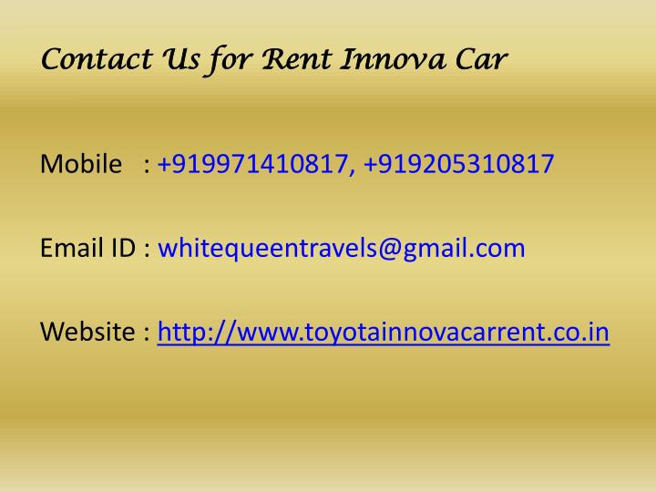 Contact Us for Rent Innova Car