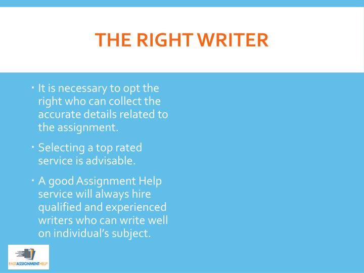 THE RIGHT WRITER