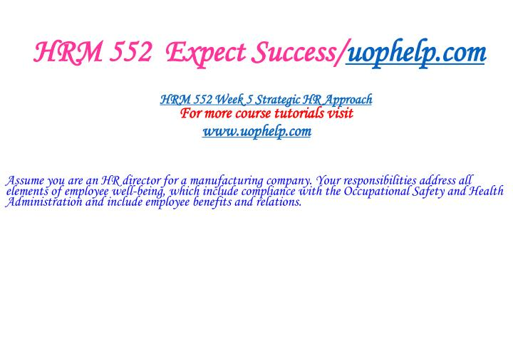HRM 552  Expect Success/