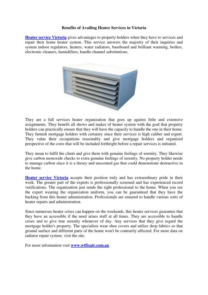Benefits of Availing Heater Services in Victoria
