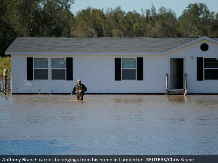Anthony Branch conveys things from his home in Lumberton. REUTERS/Chris Keane
