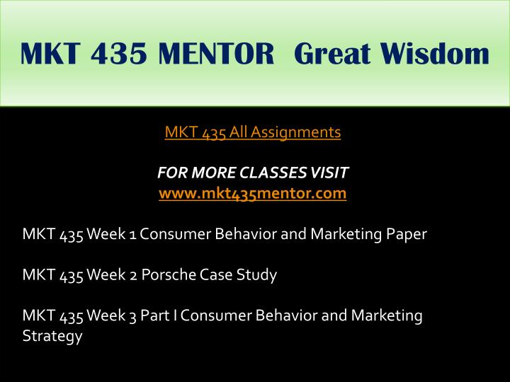 MKT 435 MENTOR  Great