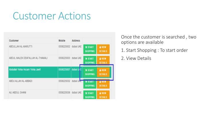 Customer Actions
