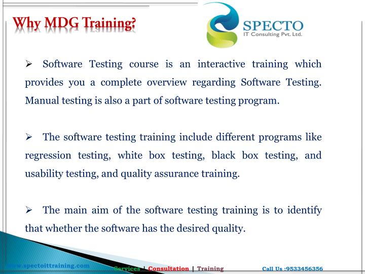 Why MDG Training?